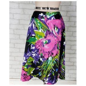 Lane Bryant Skirts - Lane Bryant Black Pink Floral Pencil Skirt